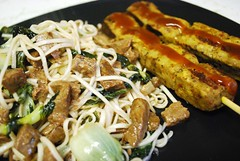 Noodle Stir-Fry and Veggie-Satays