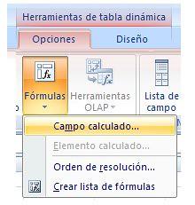 insertar campo calculado pivot table o tabla dinamica Microsoft Office Excel 2007