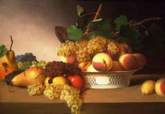 Still Life from an Oil Painting (Jill Clardy) Tags: life apple leaves fruit museum painting de james still young peach explore grapes 100views pear oil 500views 1000views derivative peale 0709 2000views explored 1400views