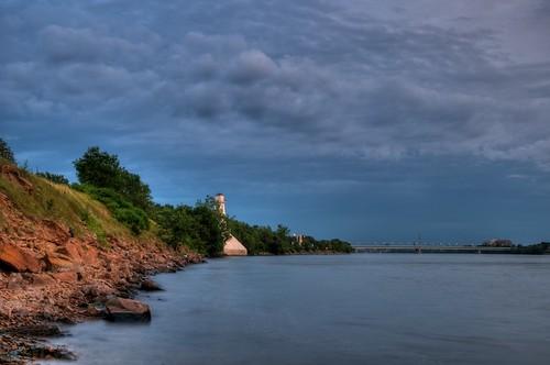 Ste-Hélène Island's south shore from Under Jacques-Cartier bridge HDR