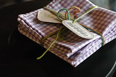 Handmade cloth napkins. In lavender gingham!