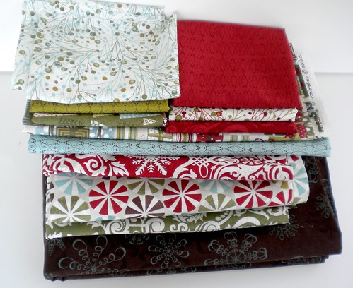 Figgy pudding fabrics for mini quilt