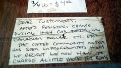 Coffee bean economics sign, Ideal Coffee, Kensington Market, Toronto, ON Canada.JPG