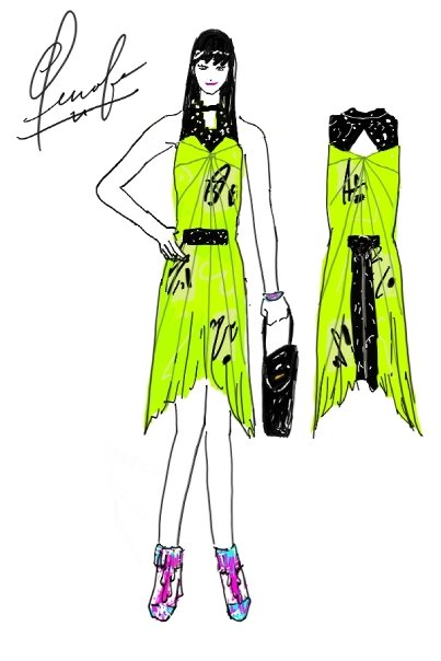 jennifer choi designs lime green and black dress