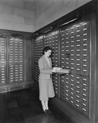 Photograph of Card Catalog in Central Search Room, 1942