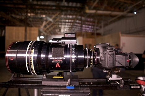 Canon 7D fitted with an enormous Panavision cinema lens, at philipbloom.co.uk
