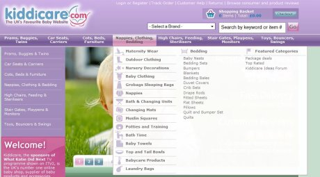 Kiddicare drop-down menus