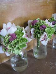 rainy day wedding (morganiscool) Tags: pink dahlia flowers wedding orchid green texture apple modern bride ribbons soft girly feminine contemporary ranunculus florist hydrangea bouquet organic bridal bridemaid
