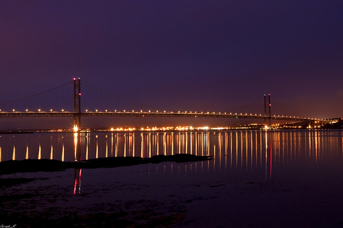 Forth Road Bridge at night