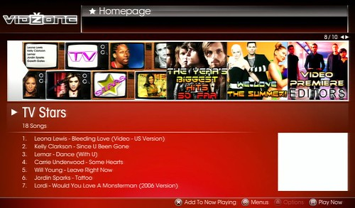 VidZone Homepage: TV Stars
