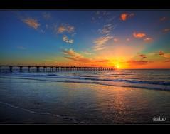 Largs Bay Jetty - HDR (Dale Allman) Tags: ocean sunset sun seascape beach water clouds canon pier sand waves jetty australia wideangle adelaide southaustralia hdr highdynamicrange 1740 3xp photomatix canon5dmkii 5dmkii largsbayjetty
