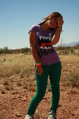 AHHH!! (the artmonster) Tags: hello blue arizona sky selfportrait mountains green feet canon rainbow purple desert pants hi eliza