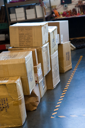 Boxes full of socks arriving at our warehouse, a daily event on weekdays