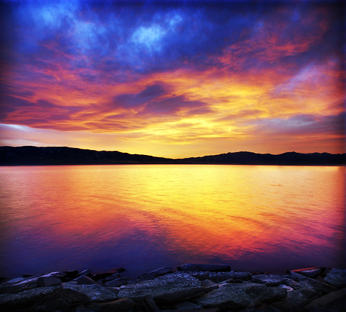 utah lake sunset shot composite