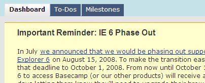 Basecamp Phasing out IE 6 Screenshot