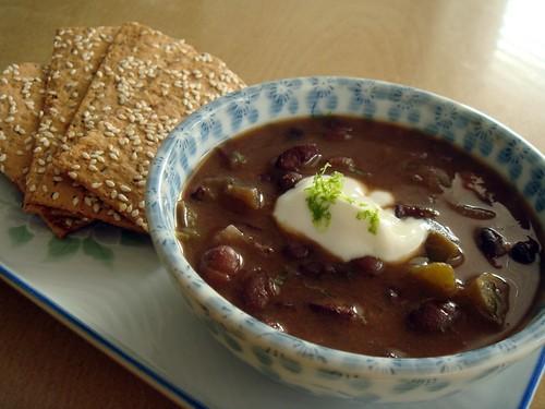 Black Bean Chipotle Soup With Chorizo
