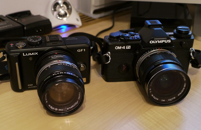 Lumix GF1 and Olympus OM4Ti with Zuikos