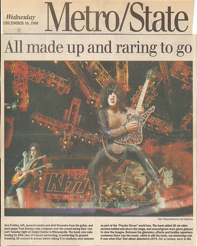 12/15/98 Kiss/Econoline Crush @ Minneapolis, MN (Newspaper Review)