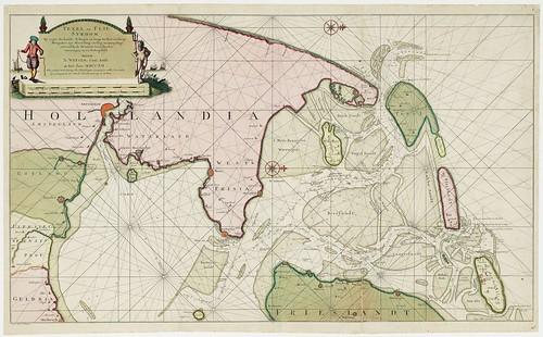 Kaart van de Zuiderzee door Nicolaas Witsen uit 1712