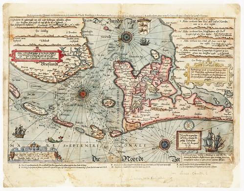 Kaart van de Zuiderzee door Lucas Janszoon Waghenaer uit 1590