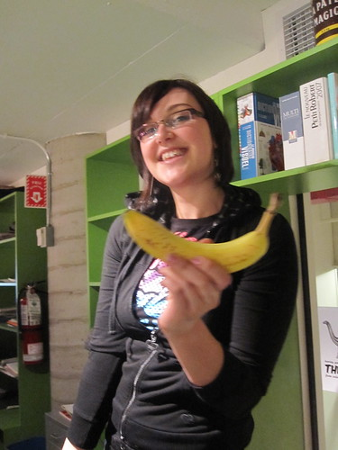 Andreanne trade a banana for a drop of whisky