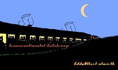 Cats like to travel at night - The Catstream Continental (Eddy Allart) Tags: cats art cat tren rotterdam kat cartoon zug gato poes trein renfe nlwirth