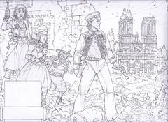 Steampunk Heroes - A group of steampunk heroes make their way through the ruins of Paris. A curiously altered Notre Dame stands in the background. This is the standard of finish for all roughs I present to my clients.
