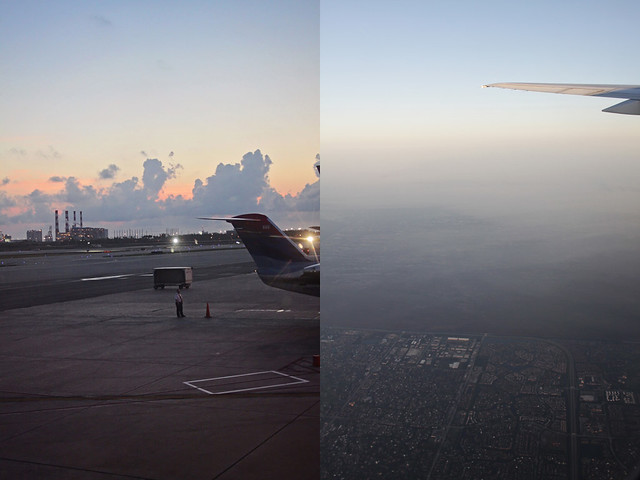 sunrise plane flight diptych