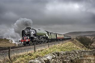 60163 approaches Blea Moor on 16 Feb 17