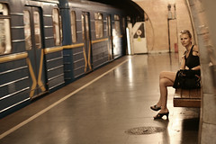 Next train (Che-burashka) Tags: blue reflection girl train bag underground waiting metro space shades ukraine ukrainian kiev    400d