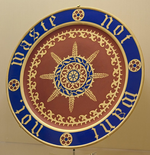 "Earthenware bread plate with inscription ""Waste not want not."", by A.W.N. Pugin, made by Minton Factory, English, ca. 1850, at the Saint Louis Art Museum, in Saint Louis, Missouri, USA"