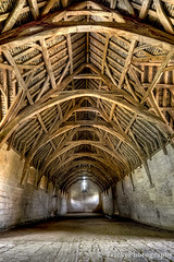Interior of Tithe Barn, near Bath, England (TrickyPhotography) Tags: wood old roof brown building history church stone architecture barn rural religious countryside wooden ancient bath village cross antique farm interior country farming grain ceiling aged agriculture tithe