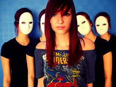 This used to be a funhouse, but now it's full of evil clowns... (magneticheart) Tags: pink white me girl female self scary mask evil fringe funhouse creepy clones scared clowns lyric