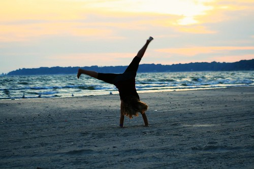 cartwheeling at sunset~ {obviously!}
