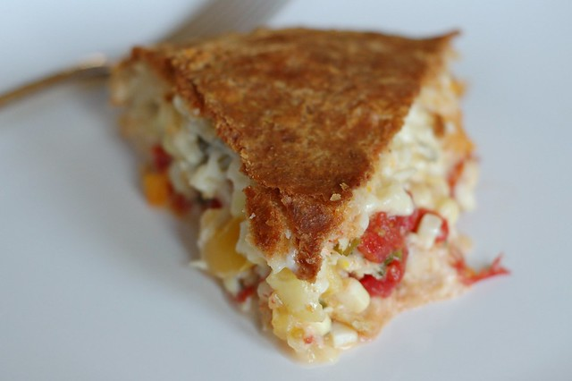 Tomato Corn Pie With Butter-Brushed Biscuit Crust by Eve Fox, Garden of Eating blog
