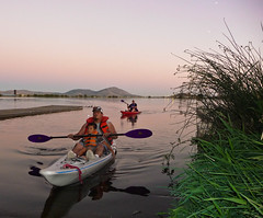 Kayaking After Work On Lake Ewauna, Downtown Klamath Falls, Oregon (ex_magician) Tags: pictures dylan me oregon lumix photo downtown kayak image photos picture panasonic adobe kayaking terry seakayak veteranspark lightroom moik klamathfalls adobelightroom lakeewauna stukelmountain tz5 dsctz5
