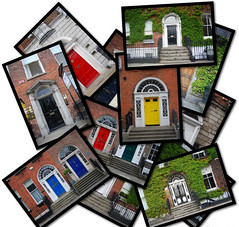 Doors of Dublin.- (ancama_99(toni)) Tags: pictures street door old city trip travel ireland windows summer vacation urban dublin irish house color building green art window colors collage architecture photoshop buildings geotagged