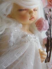 Sleeping Purin (Shory ) Tags: pink sleeping white girl rose doll makeup dreaming homemade bisou wig tiny mohair bjd dollfie fairyland pinkrose beaury yosd littlefee