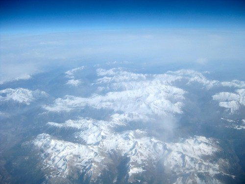 Flying over the Alps on the way to Italy.