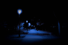 Lamplight... (Chris H#) Tags: park longexposure photoshop dark bedford riverside spooky nightime lamplight lamps processed embankment pathway eery lightroom s3000 thedarkside 6secondexposure nikond5000