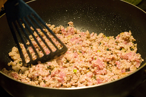 adding ground pork