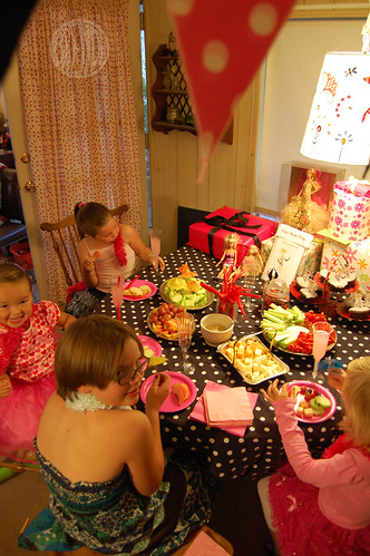 birthday party food table. table for four