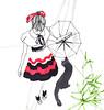 en el bosque (pintaycolorea) Tags: cold fashion illustration gato bosque pajaros invierno gorrion pintaycolorea winterparis pato™