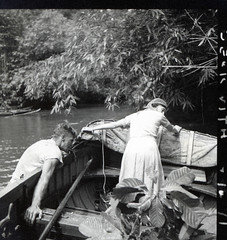 Hugo Curran and Ann Archbold after the launch ran aground on the Labo River