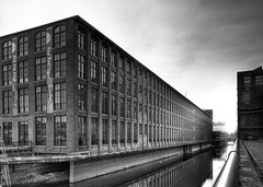 Lowell Mill (Patrick Campagnone) Tags: old city urban blackandwhite fall mill photoshop canon ma industrial factory newengland distillery hdr highdynamicrange ef1740f4l lowellmassachusetts tonemapped 3exp 40d