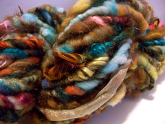 Tucson Handspun Art Yarn (FlutterbyFibers) Tags: art wool hand crochet knit sparkle yarn fabric mohair fiber weave roving handspun pulled