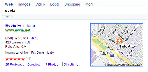 evvia local search on Yahoo!