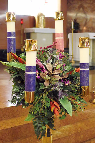 Saint Gabriel the Archangel Roman Catholic Church, in Saint Louis, Missouri, USA - Advent wreath