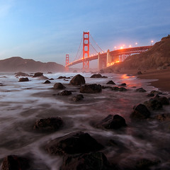 Rock Hopping (ec808x) Tags: sanfrancisco mist beach water fog nikon rocks goldengatebridge kqed d300 tokina1116mm28