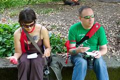 Shawn and Erin composing poetry (Eli Juicy Jones) Tags: seattle park summer people jasonwebley 2009 wallingford lunge camptomato juicyjones meridianpark tomatoscouts lx3 slightlynorth
